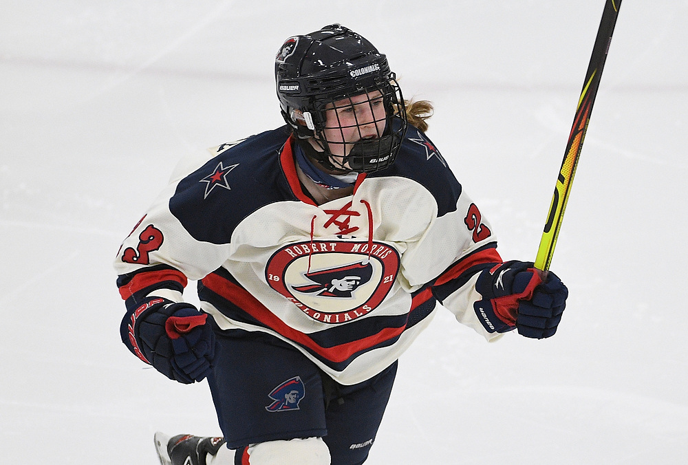 PITTSBURGH, PA - FEBRUARY 09: Ellie Marcovsky #23 of the Robert Morris Colonials reacts after a goal by Gillian Thompson #3 in the third period during the game against the Mercyhurst Lakers at Clearview Arena on February 09, 2021 in Pittsburgh, Pennsylvania. (Photo by Justin Berl/Robert Morris Athletics)