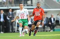 FOOTBALL - FRENCH CHAMPIONSHIP 2010/2011 - L1 - STADE RENNAIS v AS SAINT ETIENNE - 21/08/2010 - PHOTO PASCAL ALLEE / DPPI - CHRISTOPHE LANDRAIN (ASSE) / YANN M'VILA (REN)