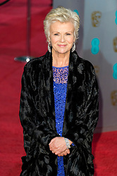 © Licensed to London News Pictures. 14/02/2016. London, UK. JULIE WALTERS arrives on the red carpet at the EE British Academy Film Awards 2016 Photo credit: Ray Tang/LNP