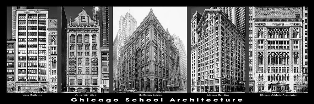 Chicago architecture.  Downtown. Chicago School architectural examples. Chicago's first towers and high rises and important architectural examples..  Digital photography.