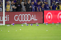 May 13, 2018 - Orlando, FL, U.S. - ORLANDO, FL - MAY 13: Trash on the field after Orlando fans throw it on the field after a call from the official during the soccer match between the Orlando City Lions and Atlanta United on May 13, 2018 at Orlando City Stadium in Orlando, FL. (Photo by Joe Petro/Icon Sportswire) (Credit Image: © Joe Petro/Icon SMI via ZUMA Press)