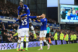 4th February 2017 - Premier League - Everton v Bournemouth - Romelu Lukaku of Everton (top) joins in the celebrations following their 6th goal - Photo: Simon Stacpoole / Offside.