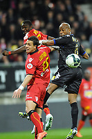 FOOTBALL - FRENCH CHAMPIONSHIP 2011/2012 - LE MANS FC v SC BASTIA   - 4/05/2015 - PHOTO PASCAL ALLEE / DPPI - TOIFILOU MAOULIDA (BASTIA) / JOFFREY CUFFAUT (LE MANS)