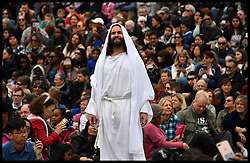 April 14, 2017 - London, London, United Kingdom - The Passion of Jesus.In Trafalgar Square on Good Friday. James Burke-Dunmore plays Jesus in 'The Passion of Christ' in Trafalgar Square on Good Friday.  (Credit Image: © Andrew Parsons/i-Images via ZUMA Press)