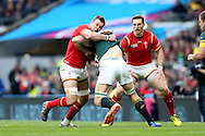 Dan Lydiate of Wales tackles Schalk Burger of South Africa. Rugby World Cup 2015 quarter final match, South Africa v Wales at Twickenham Stadium in London, England  on Saturday 17th October 2015.<br /> pic by  John Patrick Fletcher, Andrew Orchard sports photography.