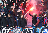 Crystal Palace's fans celebrate with a flare during the Premier League match at the Stamford Bridge Stadium, London. Picture date: April 1st, 2017. Pic credit should read: David Klein/Sportimage via PA Images