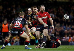 Scarlets' Rob Evans gets the ball away<br /> <br /> Photographer Simon King/Replay Images<br /> <br /> Guinness PRO14 Round 21 - Dragons v Scarlets - Saturday 28th April 2018 - Principality Stadium - Cardiff<br /> <br /> World Copyright © Replay Images . All rights reserved. info@replayimages.co.uk - http://replayimages.co.uk