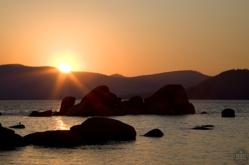 """""""Sand Harbor Sunset 2"""" - This sunset was photographed at Sand Harbor, Lake Tahoe."""