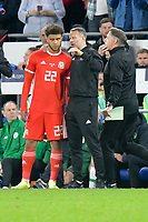 Football - 2018 / 2019 UEFA Nations League B - Group Four: Wales vs. Republic of Ireland<br /> <br /> Wales manager Ryan Giggs speaks to Tyler Roberts of Wales on the touchline as he is brought on , at Cardiff City Stadium.<br /> <br /> COLORSPORT/WINSTON BYNORTH