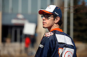 SHOT 3/20/12 2:29:01 PM - Denver Broncos fan Zeke Perez of Denver, Co. in front of the team's headquarters in Englewood, Co. as the team introduced free agent quarterback Peyton Manning at a press conference on Tuesday Marc 20, 2012. Perez said he's been a Broncos' fan all his life and taped over an old Jerry Rice jersey to show his support. Manning is coming off neck surgery and was released by the Indianapolis Colts. He signed a five year, $96 million contract with the Broncos..(Photo by Marc Piscotty / © 2012)