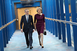 October 5, 2016 - Birmingham, United Kingdom - Image licensed to i-Images Picture Agency. 05/10/2016. Birmingham, United Kingdom. Prime Minister Theresa May and her husband Philip, arriving to give her speech on the final day of the Conservative Party Conference  in Birmingham, United Kingdom.  Picture by Stephen Lock / i-Images (Credit Image: © Stephen Lock/i-Images via ZUMA Wire)