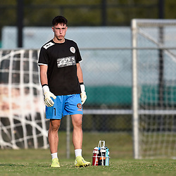 BRISBANE, AUSTRALIA - NOVEMBER 7: Tomislav Mesaric of Eastern Suburbs warms up during the friendly match between Eastern Suburbs FC and Brisbane Roar FC at Heath Park on November 7, 2020 in Brisbane, Australia. (Photo by Patrick Kearney)