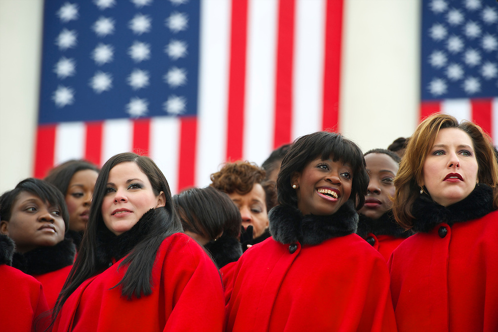 Members of the Brooklyn Tabernacle Choir prepare to perform at the opening of the 57th Presidential Inaugural ceremony at the U.S. Capitol in Washington, D.C. on Monday, January 21, 2013.