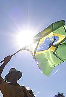20100526: BRASILIA, BRAZIL - Brazilian President Luiz Inacio Lula da Silva welcomes Brazil National Football Team at Alvorada Palace. In picture: fan waving a flag. PHOTO: CITYFILES