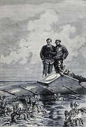 A shoal of Argonauts From the Book Twenty thousand leagues under the seas, or, The marvelous and exciting adventures of Pierre Aronnax, Conseil his servant, and Ned Land, a Canadian harpooner by Verne, Jules, 1828-1905 Published in Boston by J.R. Osgood in 1875