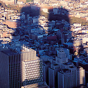 Shadow of the World Trade Center over lower Manhattan as seen from the roof, Manhattan, New York City, New York, USA