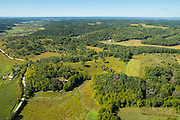 Aerial view of rural Dane County, Wisconsin. Specifically, the Pleasant Valley Conservancy north of Blue Mounds, Wisconsin.