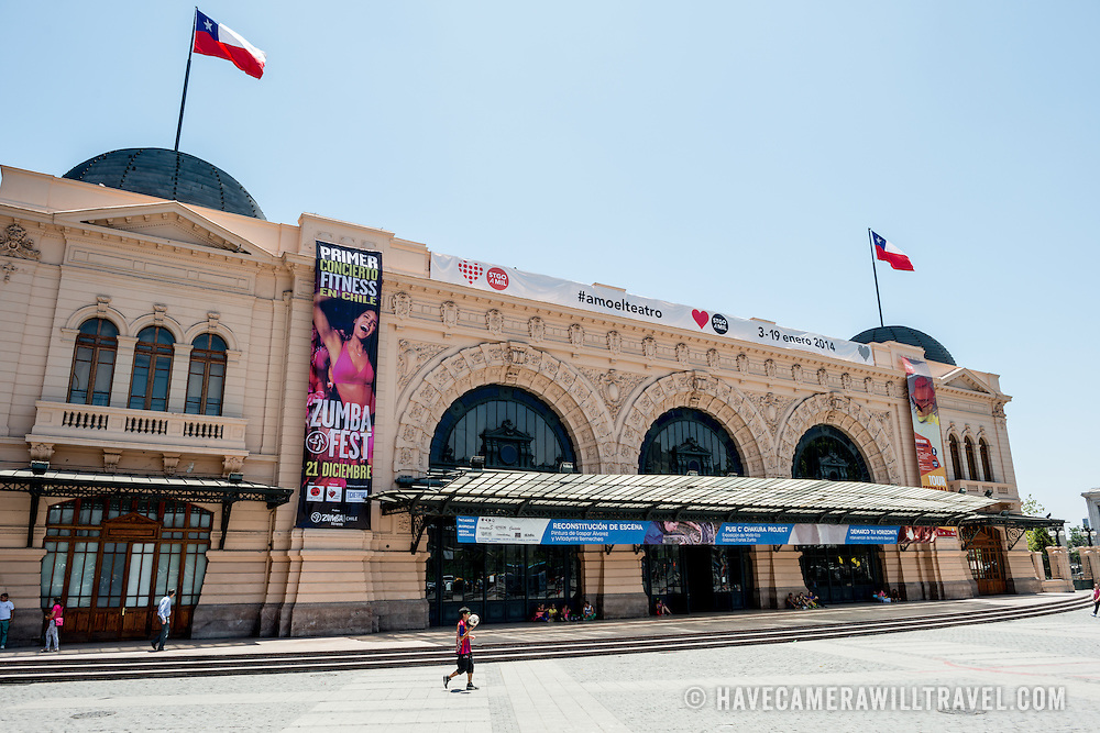 The exterior of the main entrance of Estacion Mapocho (Mapocho Station) in downtown Chile. Once Santiago's main train station, it was no longer used and left abandoned before being restored and is now used as a public convention and concert space. The opulent building dates to 1912.