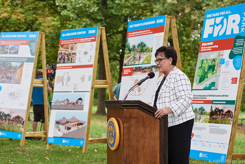 Kathryn Ott Lovell, Commissioner, Philadelphia Parks & Recreation<br /> Fairmount Park Conservancy, the City of Philadelphia, elected officials, and the Friends of FDR Park will reveal new designs for FDR Park, soliciting community input on future usage, and announce significant city investment in this South Philadelphia treasure. Program will highlight the coming play space and Welcome Center at FDR Park with a speaking program and unveiling.<br /> <br /> DETAILS: Fairmount Park Conservancy, the non-profit organization that brings Philadelphia parks to life, in partnership with Philadelphia Parks & Recreation and the Friends of FDR Park, recently began the implementation of the FDR Park Master Plan, a vision that offers a once-in-a generation opportunity to reimagine a historic Olmsted Park to serve 21st-century Philadelphians.<br /> <br /> The Gateway Phase of the master plan will enhance the visitor experience by restoring and transforming the 5,500 square foot guardhouse at FDR Park's Broad Street and Pattison Avenue entrance into a Welcome Center. The Welcome Center will include a courtyard with restrooms, a staffed information center, equipment rentals, food vendors, and co-working spaces for park staff and community partners. The Welcome Center will also transform the existing stables into a 4,000-square- foot cafe and 6,700-square-foot event space overlooking the Pattison Lagoon.<br /> <br /> Adjacent to the Welcome Center will be a world-class destination play space that encourages nature play. Park-goers of all ages and abilities will be able to enjoy the playscape with rolling paths, climbing structures, log scrambles, and treehouses. A mega-swing set will provide a unique swing experience unlike any other in the city, overlooking the Pattison Lagoon.<br /> <br /> Learn more about the FDR Park Master Plan: https://myphillypark.org/what-we-do/capital-projects/fdr-park/<br /> <br /> for Fairmount Park Conservancy<br /> October 6, 2021