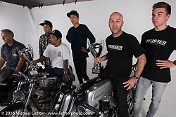 Photo session of the top award winners with Onno Berserk Wieringa of the Netherlands at the AMD World Championship of Custom Bike Building in the custom dedicated Hall 10 at the Intermot Motorcycle Trade Fair. Cologne, Germany. Sunday October 9, 2016. Photography ©2016 Michael Lichter.