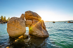 """""""Boulders at Lake Tahoe 52"""" - Photography of a keyhole like boulder formation at Whale Beach, Lake Tahoe. Shot shortly before sunset."""