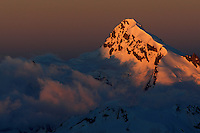 Russia, Caucasus. Early morning light on a mountain west of Elbrus