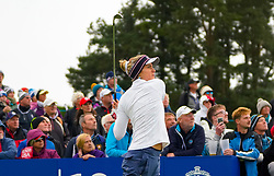 Auchterarder, Scotland, UK. 14 September 2019. Saturday afternoon Fourballs matches  at 2019 Solheim Cup on Centenary Course at Gleneagles. Pictured; Lexi Thompson follows her tee shot on the 10th hole.  Iain Masterton/Alamy Live News