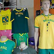 Brazilian souvenirs and t shirts for sale in a shop in Copacabana, Rio de Janeiro,  Brazil. 18th July 2010. Photo Tim Clayton..