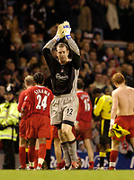 Photo. Jed Wee.<br /> Liverpool v Aston Villa, FA Barclaycard Premiership, Anfield, Liverpool. 10/01/2004.<br /> Childhood Liverpool fan Paul Jones performs well on his debut to keep a clean sheet and help Liverpool to the win.