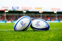 A general view of Sandy Park Stadium with Heineken European Champions Cup match balls  - Mandatory by-line: Ryan Hiscott/JMP - 13/10/2018 - RUGBY - Sandy Park Stadium - Exeter, England - Exeter Chiefs v Munster Rugby - European Rugby Champions Cup