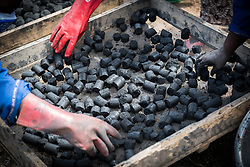 30 May 2019, Mokolo, Cameroon: Women place a full tray of fresh charcoal briquettes in the sun to dry. At the Minawao camp for Nigerian refugees, degradable and non-degradable waste are separated, so that biomass can be burnt in metal containers, processed and finally transformed into charcoal briquettes as a source of recycled energy to be used as firewood for cooking. With the support of an environment monitor  from the Lutheran World Federation World Service programme, the full process from waste to charcoal is managed and run by the refugees themselves. The Minawao camp for Nigerian refugees, located in the Far North region of Cameroon, hosts some 58,000 refugees from North East Nigeria. The refugees are supported by the Lutheran World Federation, together with a range of partners.