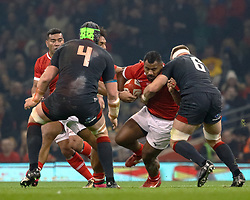 Fotu Lokotui of Tonga is tackled by Aaron Wainwright of Wales<br /> <br /> Photographer Simon King/Replay Images<br /> <br /> Under Armour Series - Wales v Tonga - Saturday 17th November 2018 - Principality Stadium - Cardiff<br /> <br /> World Copyright © Replay Images . All rights reserved. info@replayimages.co.uk - http://replayimages.co.uk