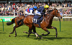 Porth Swtan ridden by jockey Paul Hanagan (right) beats Ambient ridden by jockey Nicola Currie to win the Alex Scott Maiden Stakes during day one of The Bet365 Craven Meeting at Newmarket Racecourse, Newmarket.