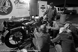 Jim Petty's Team 55 working on his 1927 Indian Chief during Stage 8 of the Motorcycle Cannonball Cross-Country Endurance Run, which on this day ran from Junction City, KS to Burlington, CO., USA. Saturday, September 13, 2014.  Photography ©2014 Michael Lichter.