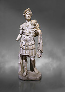 Roman statue of Emperor Hadrian. Marble. Perge. 2nd century AD. Inv no 3730-3728. Antalya Archaeology Museum; Turkey. Against a grey background .<br /> <br /> If you prefer to buy from our ALAMY STOCK LIBRARY page at https://www.alamy.com/portfolio/paul-williams-funkystock/greco-roman-sculptures.html . Type -    Antalya     - into LOWER SEARCH WITHIN GALLERY box - Refine search by adding a subject, place, background colour, museum etc.<br /> <br /> Visit our ROMAN WORLD PHOTO COLLECTIONS for more photos to download or buy as wall art prints https://funkystock.photoshelter.com/gallery-collection/The-Romans-Art-Artefacts-Antiquities-Historic-Sites-Pictures-Images/C0000r2uLJJo9_s0