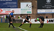 Referee Anthony Tankard and his assistants warming up prior to the Northern Premier League match between Matlock FC and Ashton United at the Proctor Cars Stadium on October 10th, 2020 in Matlock, Derbyshire. Local fans welcomed to watch the match maintaining Government's Covid-19 guidelines., 2020 in Matlock, Derbyshire. Local fans welcomed to watch the match maintaining Government's Covid-19 guidelines. (VXP Photo/ Shaun Hardwick)