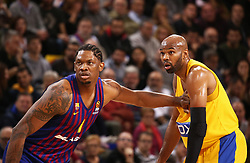 November 1, 2018 - Barcelona, Catalonia, Spain - Alex Tyus and Kevin Seraphin during the match between FC Barcelona and Maccabi Tel Aviv, corresponding to the week 5 of the Euroleague, played at the Palau Blaugrana, on 01 November 2018, in Barcelona, Spain. (Credit Image: © Joan Valls/NurPhoto via ZUMA Press)