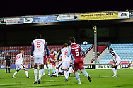 Scunthorpe United Alfie Beestin (22) shoots at goal during the EFL Sky Bet League 2 match between Scunthorpe United and Bolton Wanderers at the Sands Venue Stadium, Scunthorpe, England on 24 November 2020.