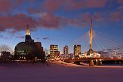 Canadian Museum for Human Rights (CMHR) and the Esplanade Riel Bridge in winter<br /> Winnipeg<br /> Manitoba<br /> Canada