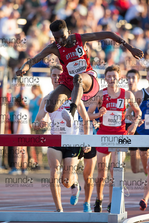 OTTAWA, ON -- 07 July 2018: Andre Alie-Lamarche in the U20 steeplechase at the 2018 Athletics Canada National Track and Field Championships held at the Terry Fox Athletics Facility in Ottawa, Canada. (Photo by Sean Burges / Mundo Sport Images).