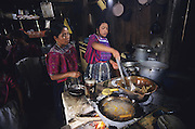 TODOS  SANTOS, Guatemala. Cooking empanadas dumplings. Western Highlands, Huehuetenango, Todos Santos. Mayan traditional festival. Todos Santos Horse Race, the 'Skach Koyl' on All Saints Day 1st November; the 'Day of the dead' November 2nd. Mayan dances about Spanish 'Conquistadores' and Mayan Spirits, accompanied by marimbas take place October 31st.