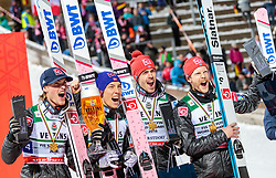 21.01.2018, Heini Klopfer Skiflugschanze, Oberstdorf, GER, FIS Skiflug Weltmeisterschaft, Teambewerb, Siegerehrung, im Bild Daniel Andre Tande (NOR), Johann Andre Forfang (NOR), Andreas Stjernen (NOR), Robert Johansson (NOR) // Daniel Andre Tande of Norway, Johann Andre Forfang of Norway, Andreas Stjernen of Norway, Robert Johansson of Norway during Winner Award Ceremony of the Team competition of the FIS Ski Flying World Championships at the Heini-Klopfer Skiflying Hill in Oberstdorf, Germany on 2018/01/21. EXPA Pictures © 2118, PhotoCredit: EXPA/ JFK