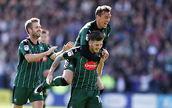 Matthew Kennedy of Plymouth Argyle celebrates scoring a goal with Gary Sawyer of Plymouth Argyle - Mandatory by-line: Gary Day/JMP - 17/04/2017 - FOOTBALL - Home Park - Plymouth, England - Plymouth Argyle v Newport County - Sky Bet League Two
