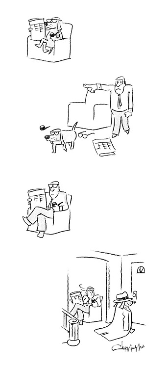(A dog sits in a chair smoking his master's pipe and reading a newspaper until his owner asks him to leave, which he does, weating his master's coat and hat)