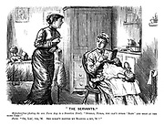 """'The Servants.' Materfamilias (finding the new nurse deep in a Sensation Novel). """"Surely, Nurse, you can't nurse 'Baby' and read at the same time!"""" Nurse. """"Oh, Lor', yes, 'M. She doesn't disturb my reading a bit, 'M!!"""""""