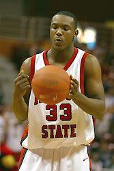 21 February 2004  Najeeb Echols prepares for a free throw. Illinois State University entertains Loyola at Redbird Arena in Normal Illinois.