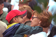 Mom and son sharing a warm moment at Vietnam Memorial age 35 and 3.  St Paul  Minnesota USA