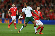 Cyrus Christie of Republic of Ireland (2) holds off Aaron Ramsey of Wales . Wales v Rep of Ireland , FIFA World Cup qualifier , European group D match at the Cardiff city Stadium in Cardiff , South Wales on Monday 9th October 2017. pic by Andrew Orchard, Andrew Orchard sports photography