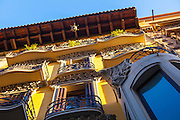 Close up of apartment building, Eixample, Barcelona, Catalonia, Spain