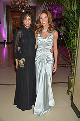 Left to right, JEANETTE CALLIVA and HEATHER KERZNER at the QBF Spring Gala in aid of the Red Cross War Memorial Children's Hospital hosted by Heather Kerzner and Jeanette Calliva at Claridge's, Brook Street, London on 12th May 2015.
